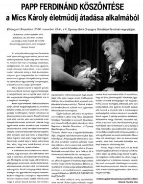 Papp Ferdinánd köszöntése a Mics Károly életműdíj átadása alkalmából